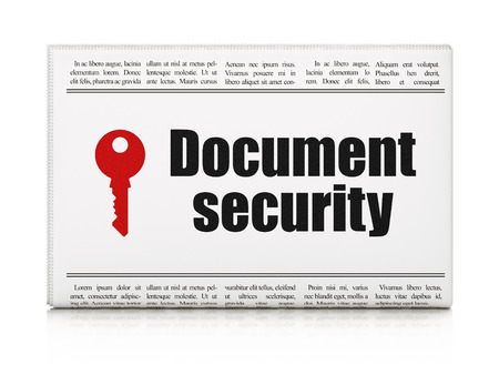 Protection news concept: newspaper headline Document Security and Key icon on White background, 3d render photo
