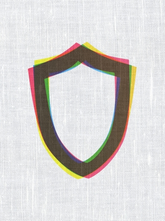 contoured: Privacy concept: CMYK Contoured Shield on linen fabric texture background, 3d render Stock Photo