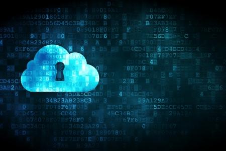 Cloud netwerkconcept: korrelig Wolk Met Sleutelgat pictogram op digitale achtergrond, lege copyspace voor kaart, tekst, reclame, 3d render Stockfoto