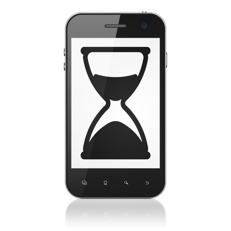 Time concept: smartphone with Hourglass icon on display. Mobile smart phone on White background, cell phone 3d render photo