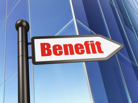 Business concept: sign Benefit on Building background, 3d render photo