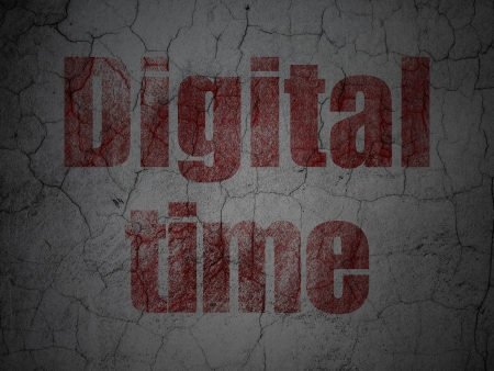 Timeline concept: Red Digital Time on grunge textured concrete wall background, 3d render photo