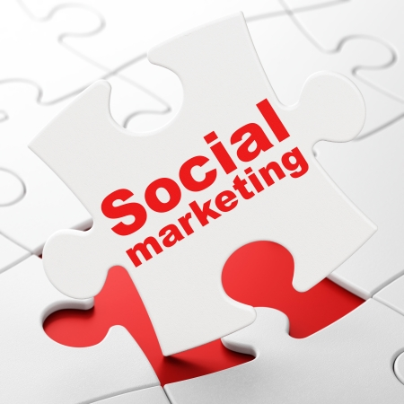 Marketing concept: Social Marketing on White puzzle pieces background, 3d render photo