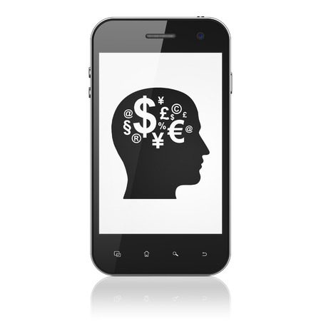 Business concept: smartphone with Head With Finance Symbol icon on display. Mobile smart phone on White background, cell phone 3d render photo