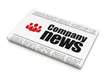 News news concept: newspaper headline Company News and Business People icon on White background, 3d render photo