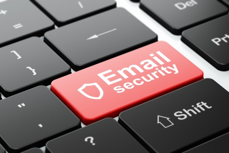 contoured: Security concept: computer keyboard with Contoured Shield icon and word Email Security, selected focus on enter button, 3d render Stock Photo