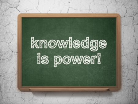 Education concept: text Knowledge Is power! on Green chalkboard on grunge wall background, 3d render photo