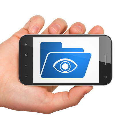 Business concept: hand holding smartphone with Folder With Eye on display. Mobile smart phone on White background, 3d render photo