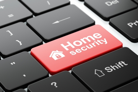Security concept: computer keyboard with Home icon and word Home Security, selected focus on enter button, 3d render photo