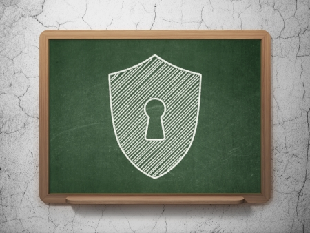 Protection concept: Shield With Keyhole icon on Green chalkboard on grunge wall background, 3d render photo