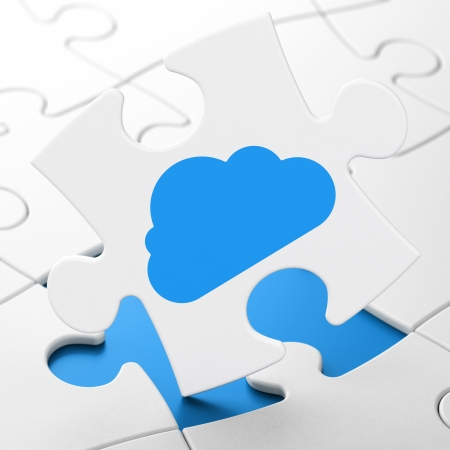 Cloud networking concept: Cloud on White puzzle pieces background, 3d render photo