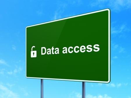 Data concept: Data Access and Opened Padlock icon on green road (highway) sign, clear blue sky background, 3d render photo