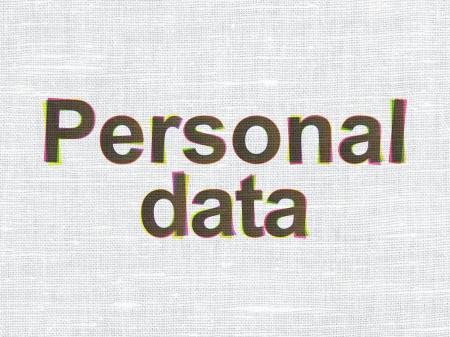 datos personales: Concepto de la Informaci�n: CMYK Datos Personales en tejido de lino de textura de fondo, 3d