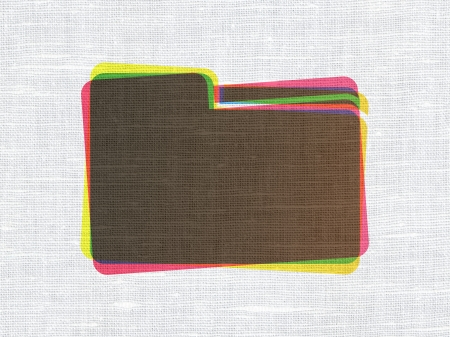 Business concept: CMYK Folder on linen fabric texture background, 3d render photo