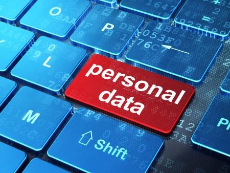 datos personales: Concepto de la Informaci�n: teclado de ordenador con palabra de datos personales en introducir fondo de bot�n, 3d