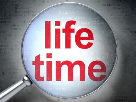 Time concept: magnifying optical glass with words Life Time on digital background, 3d render Reklamní fotografie