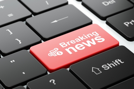 News concept: computer keyboard with Calculator icon and word Breaking News, selected focus on enter button, 3d render photo