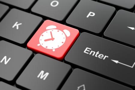cronologia: Concepto de tiempo: Teclado de ordenador con el icono del reloj de alarma en introducir fondo de bot�n, 3d