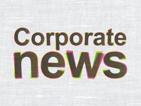 News concept: CMYK Corporate News on linen fabric texture background, 3d render photo