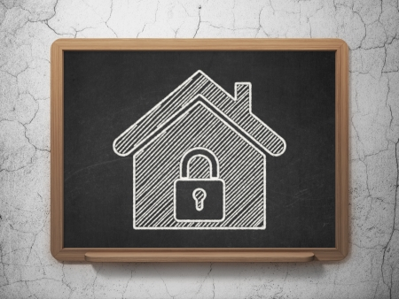 Security concept: Home icon on Black chalkboard on grunge wall background, 3d render photo