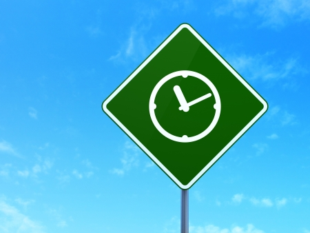 Timeline concept: Clock on green road (highway) sign, clear blue sky background, 3d render photo