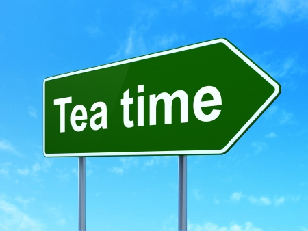 Time concept: Tea Time on green road (highway) sign, clear blue sky background, 3d render photo