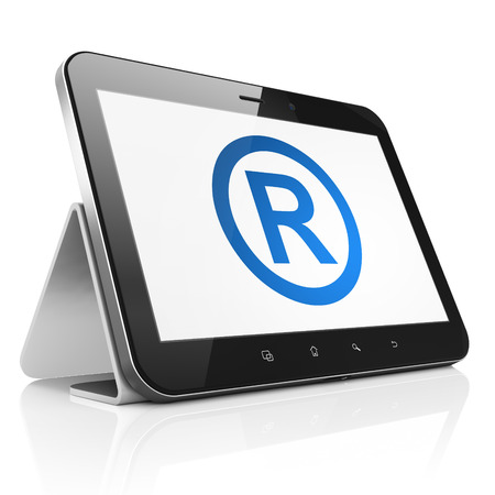 r regulation: Law concept: black tablet pc computer with Registered icon on display. Modern portable touch pad on White background, 3d render
