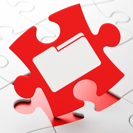 buisnes: Business concept: Folder on Red puzzle pieces background, 3d render Stock Photo