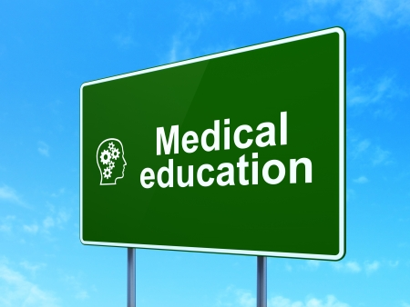 Education concept: Medical Education and Head With Gears icon on green road (highway) sign, clear blue sky background, 3d render photo
