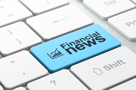 News concept: computer keyboard with Growth Graph icon and word Financial News, selected focus on enter button, 3d render photo