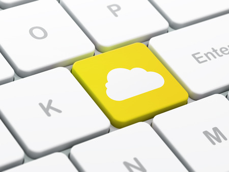 Cloud technology concept: computer keyboard with Cloud icon on enter button background, selected focus, 3d render photo