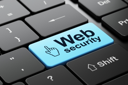 Web design concept: computer keyboard with Mouse Cursor icon and word Web Security, selected focus on enter button, 3d render photo