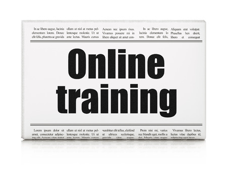 Education news concept: newspaper headline Online Training on White background, 3d render photo
