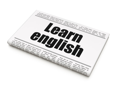 Education news concept: newspaper headline Learn English on White background, 3d render photo