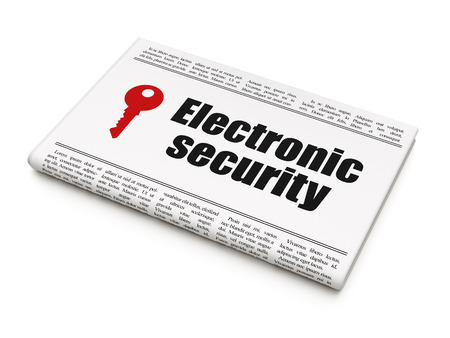 Security news concept: newspaper headline Electronic Security and Key icon on White background, 3d render photo
