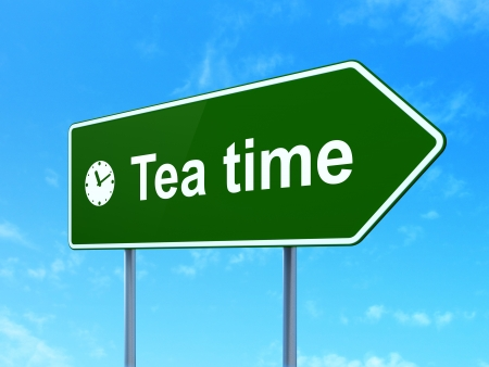 Time concept: Tea Time and Clock icon on green road (highway) sign, clear blue sky background, 3d render photo