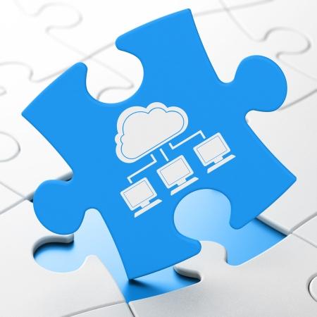 Cloud computing concept: Cloud Network on Blue puzzle pieces background, 3d render photo