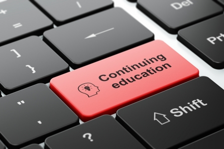 Education concept: computer keyboard with Head With Lightbulb icon and word Continuing Education, selected focus on enter button, 3d render