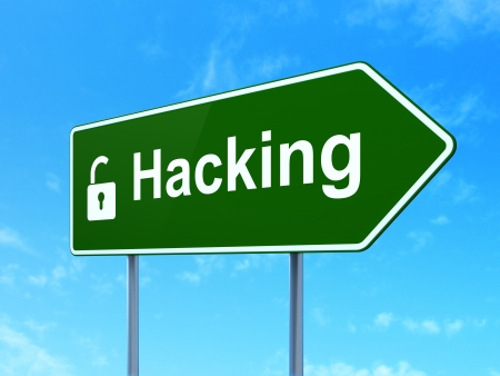 Protection concept: Hacking and Opened Padlock icon on green road (highway) sign, clear blue sky background, 3d render photo