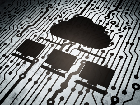 Cloud technology concept: circuit board with  Cloud Network icon, 3d render photo