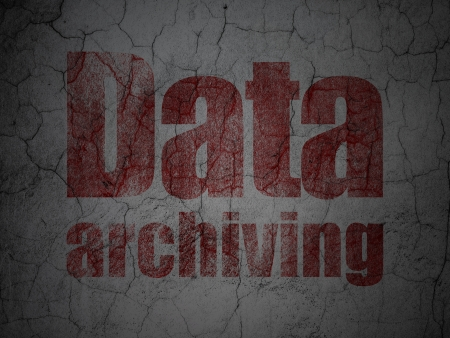 archiving: Information concept: Red Data Archiving on grunge textured concrete wall background, 3d render Stock Photo