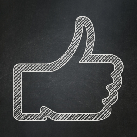 Social media concept: Like icon on Black chalkboard background, 3d render