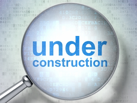 SEO web design concept: magnifying optical glass with words Under Construction on digital background, 3d render photo