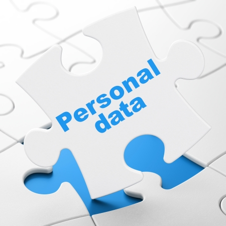 Information concept: Personal Data on White puzzle pieces background, 3d render photo