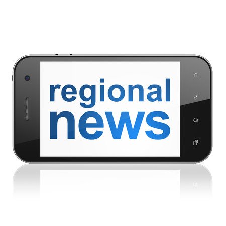 News concept: smartphone with text Regional News on display. Mobile smart phone on White background, cell phone 3d render photo