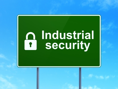 Safety concept: Industrial Security and Closed Padlock icon on green road (highway) sign, clear blue sky background, 3d render photo