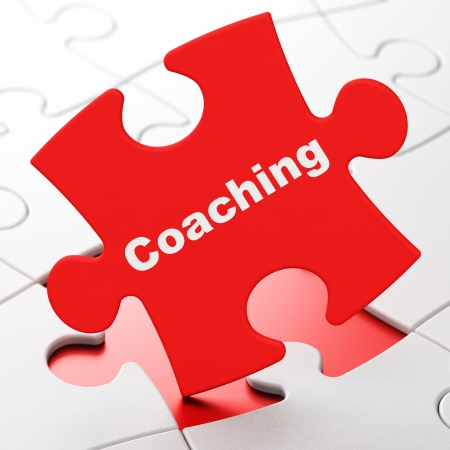 Education concept: Coaching on Red puzzle pieces background, 3d render photo