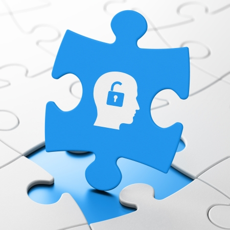 Business concept: Head With Padlock on Blue puzzle pieces background, 3d render photo