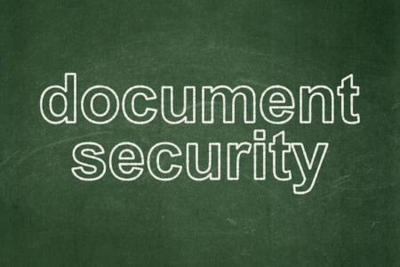 Protection concept: text Document Security on Green\ chalkboard background, 3d render
