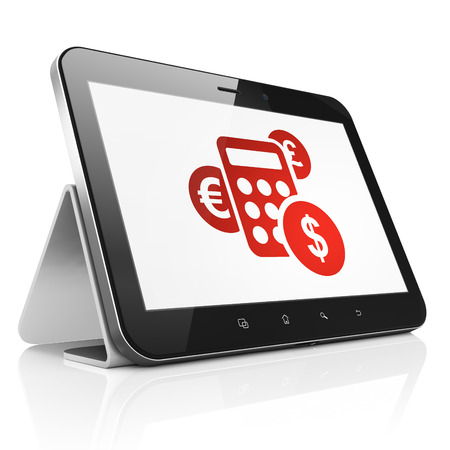 News concept: black tablet pc computer with Calculator icon on display. Modern portable touch pad on White background, 3d render photo